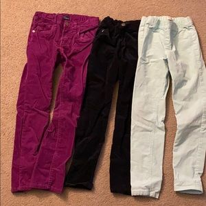 Girls cordoray button and pull up pants, 3 pairs